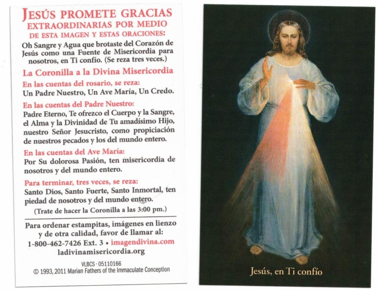 Inexpensive Divine Mercy Card, Spanish, Vilnius Black Background Image, 1000 card box