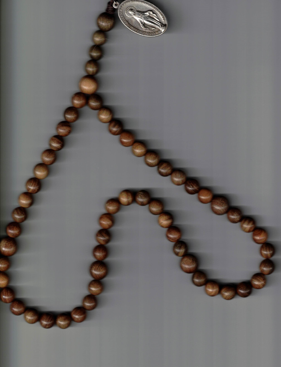 Exotic Wooden Bead Rosary with Miraculous Medal - Handcrafted by Brother Archangelo