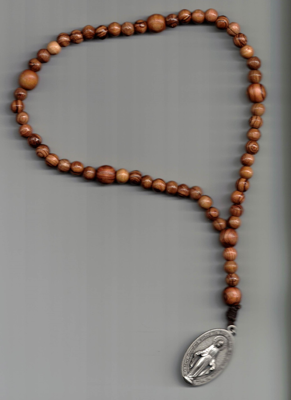 Olive Wood Rosary with Miraculous Medal Handcrafted by Br. Archangelo