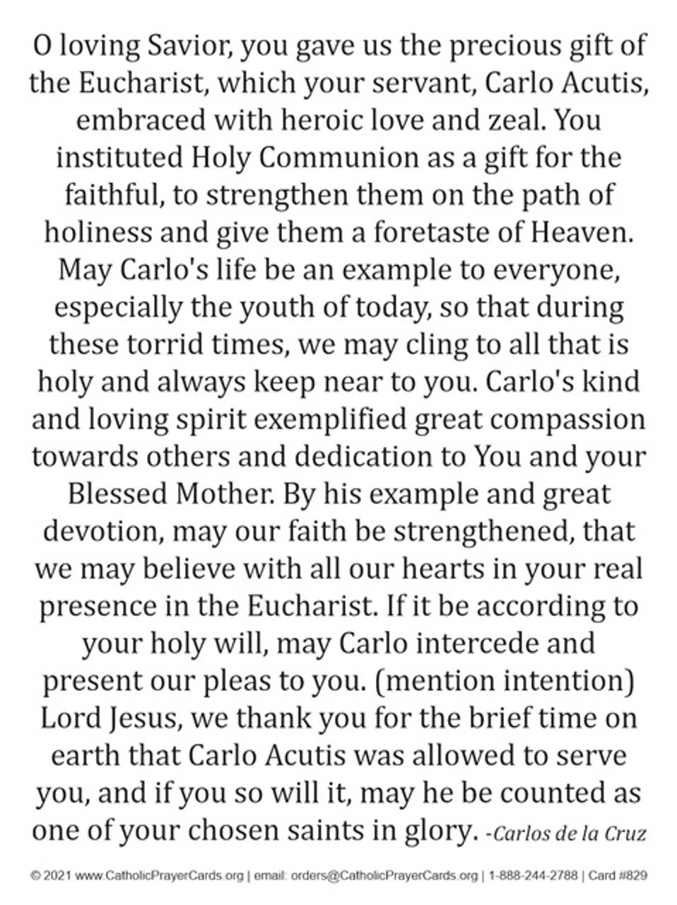 Blessed Carlo Acutis Eucharistic Prayer