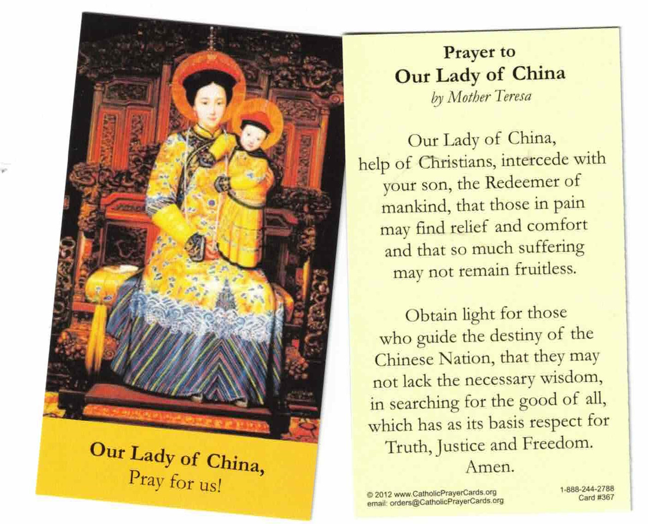 Prayer to Our Lady of China by Saint Mother Teresa