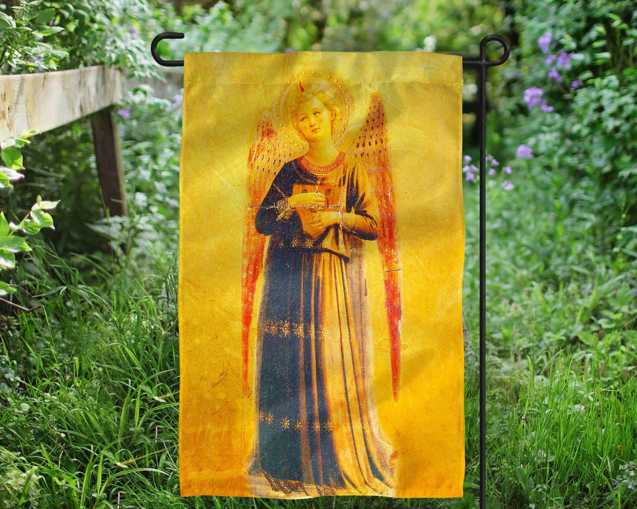 Fra Angelico Angel with Harp Outdoor Garden Flag