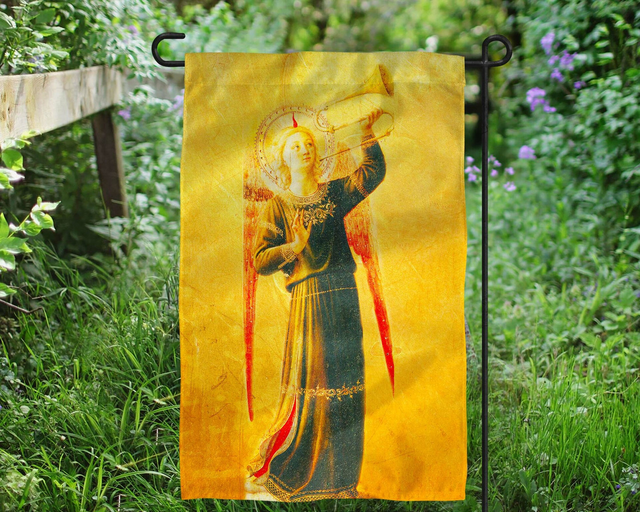 Fra Angelico Angel with Horn Outdoor Garden Flag