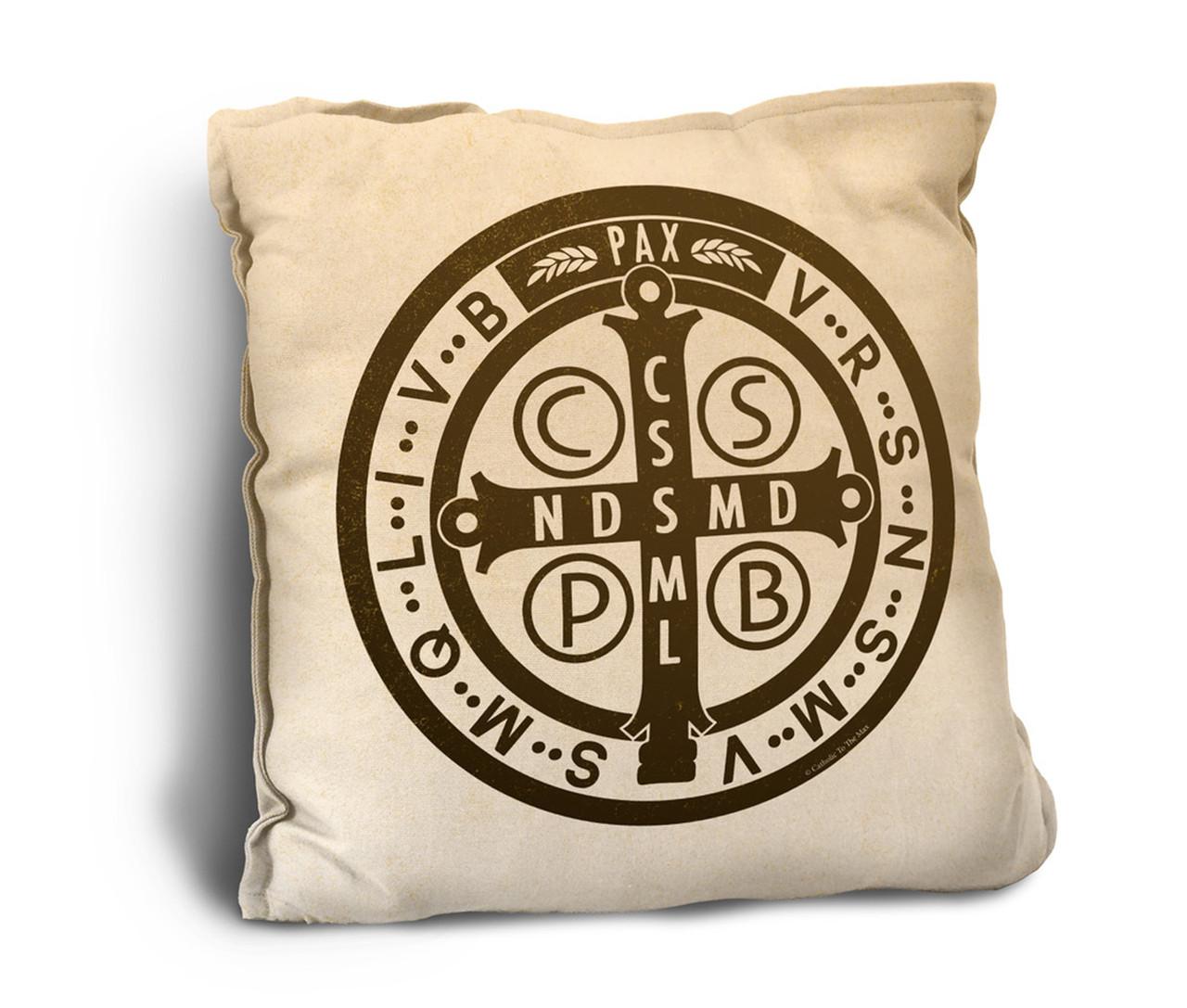 Benedictine Medal Rustic Pillow