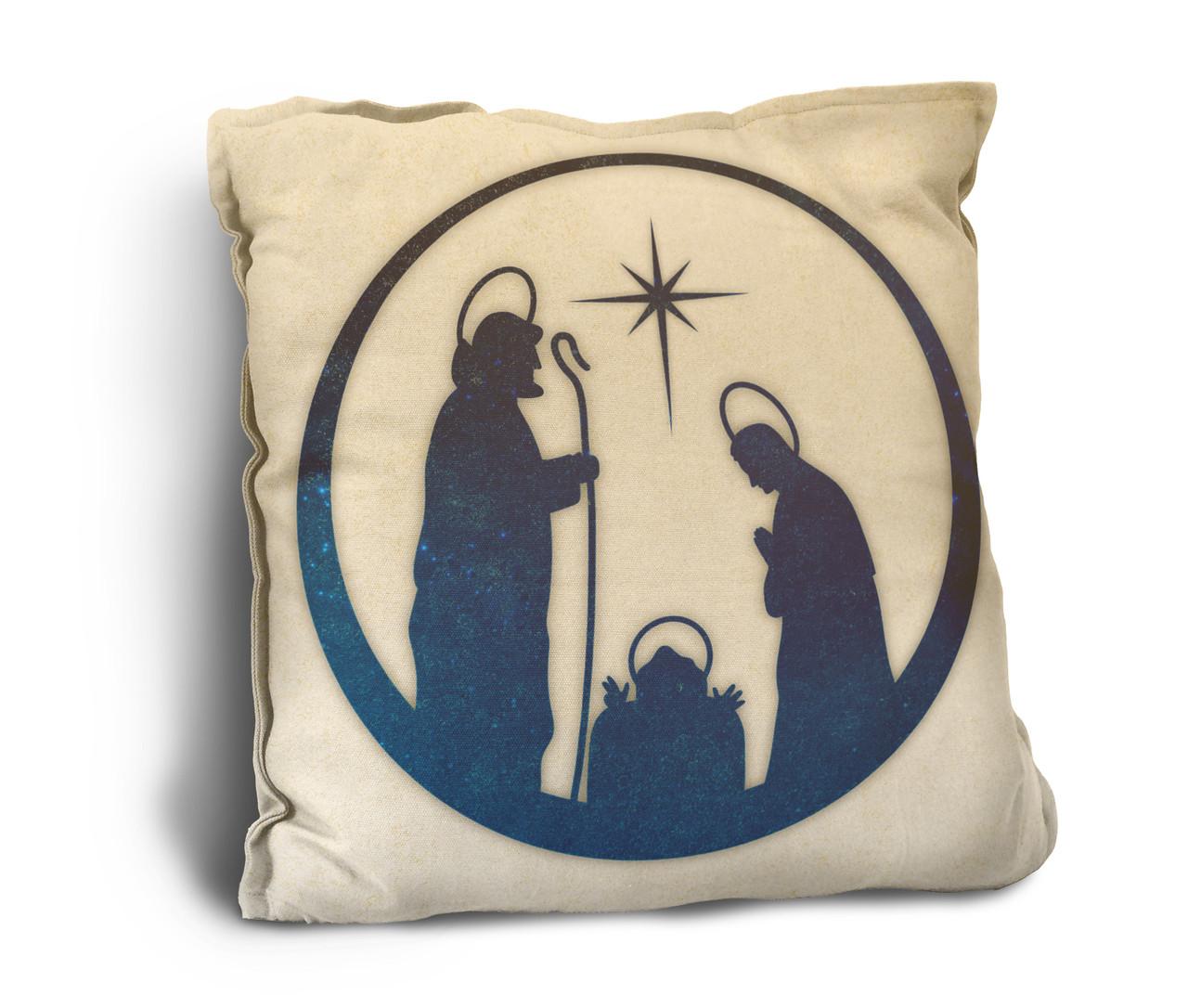 Vintage Nativity Rustic Pillow