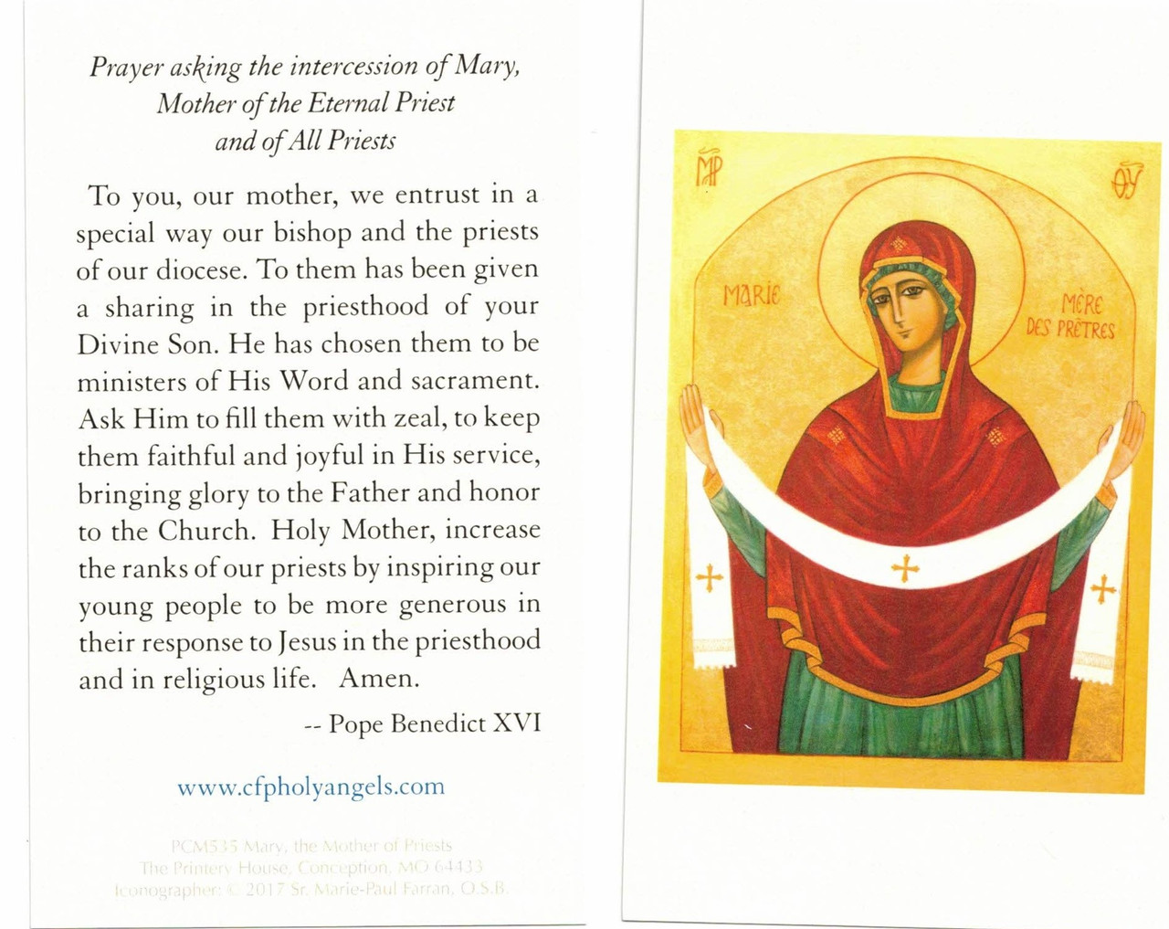 Mary, Mother of Priests Prayer