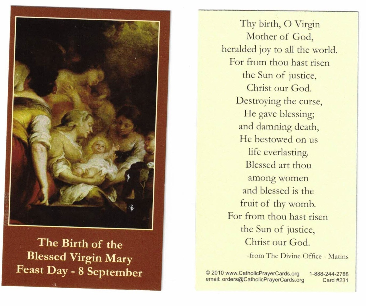 The Birth Nativity of the Blessed Virgin Mary Prayer Card