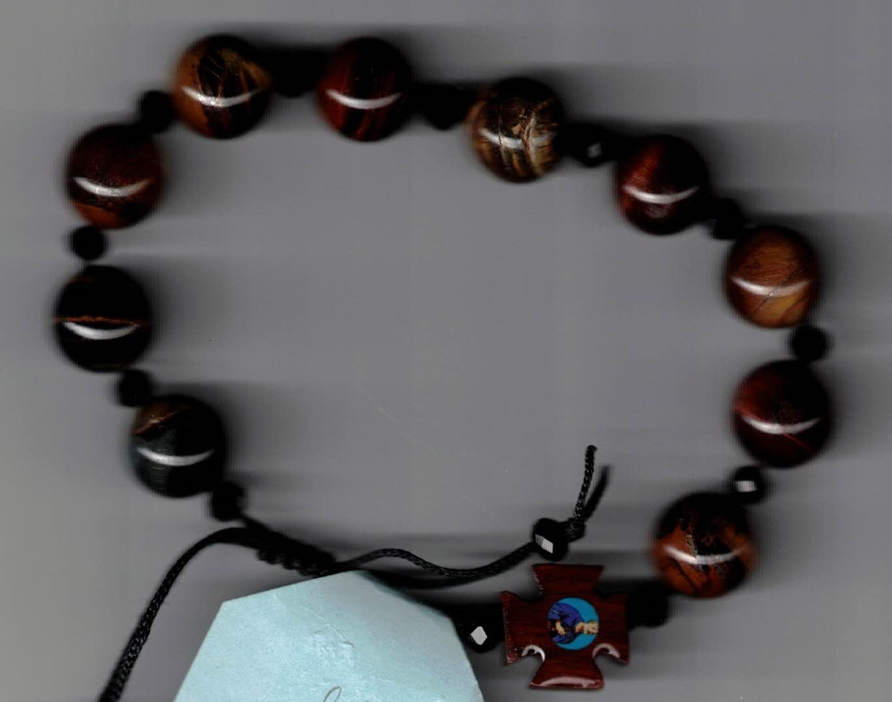Suong Bead and Slip Tie Cord Bracelet with Cross with images of Child Jesus and Saint Joseph