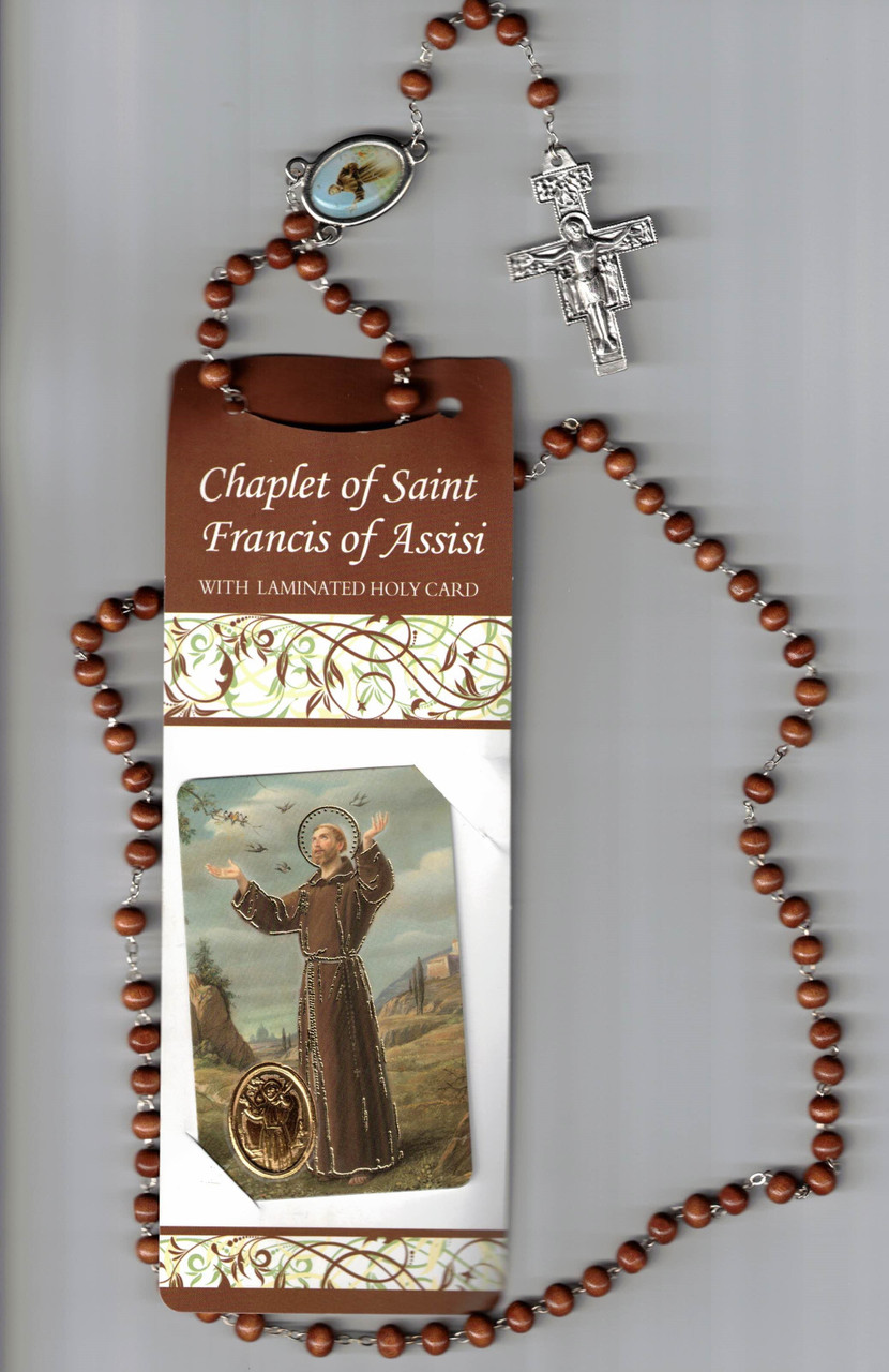 Chaplet of Saint Francis of Assisi (Franciscan Crown Rosary) with Laminated Holy Card and Instructions