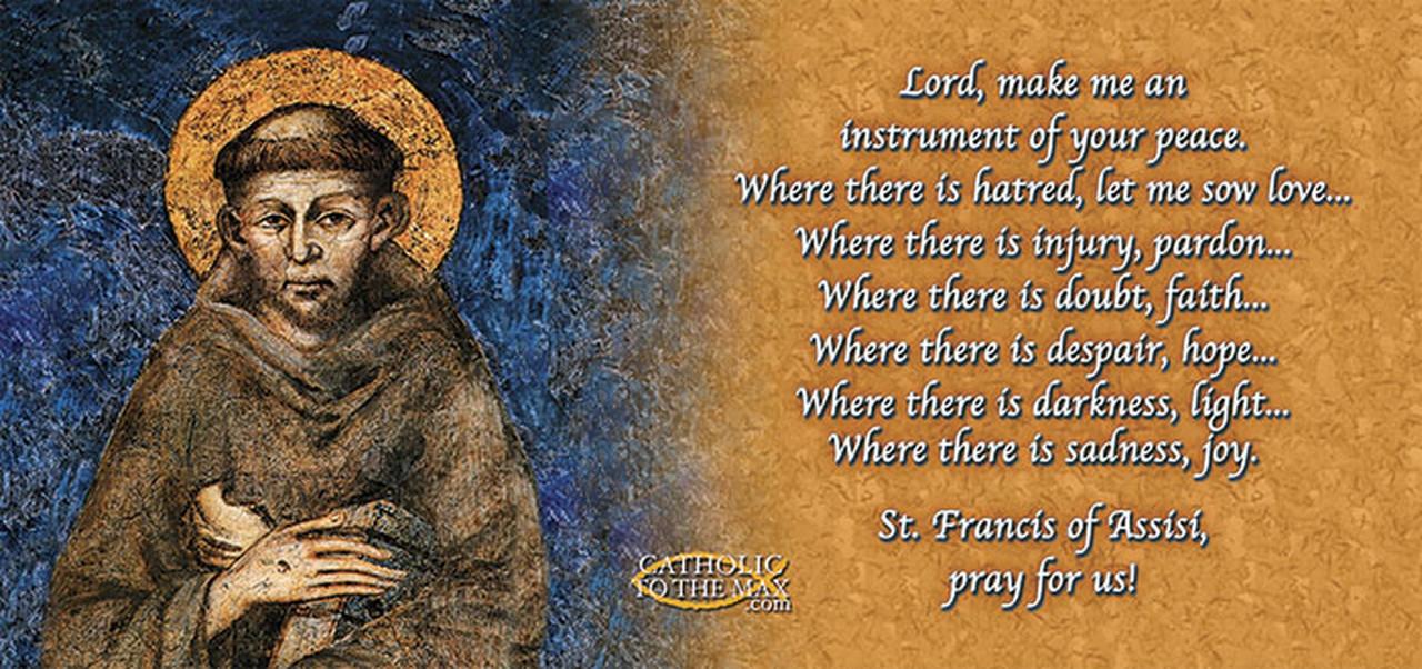 Saint Francis of Assisi Cimabue Image with Peace Prayer Mug