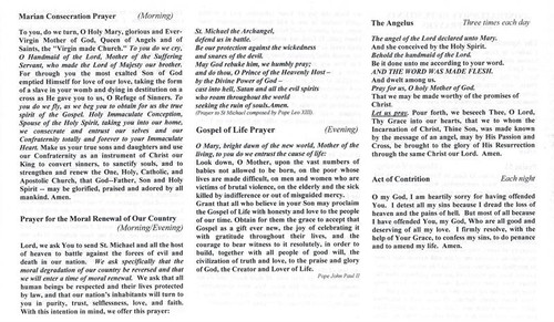 Confraternity of Penitents Daily Prayer Foldout--Standard Font