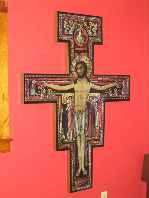 5 feet 6 inches (approximately) Hand Crafted San Damiano Wall Crucifix