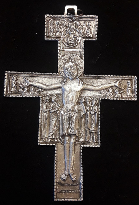 Pewter San Damiano Crucifix Pendant, Boxed