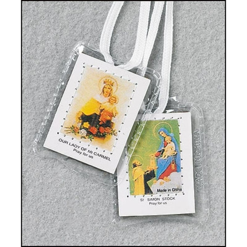 Inexpensive Traditional Brown Scapular-WITH WHITE CORD