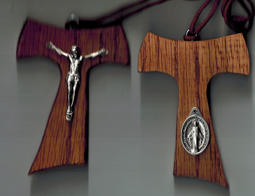 Hand crafted wooden tau pendant with corpus and Miraculous Medal
