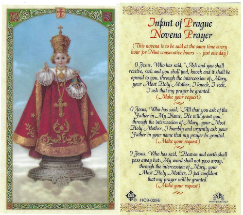 Infant of Prague Novena prayer, Laminated prayer card