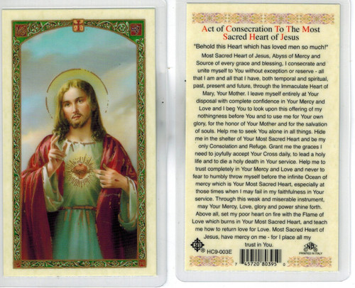 Act of Consecration to the Most Sacred Heart of Jesus, laminated prayer card