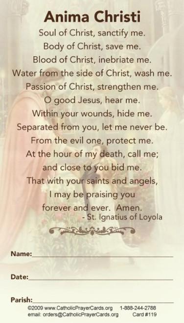 First Communion Anima Christi Remembrance Card