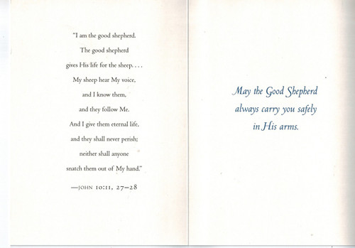 Good Shepherd Encouragement, Comfort Christian Greeting Card inside text on Good Shepherd from the Gospel of John