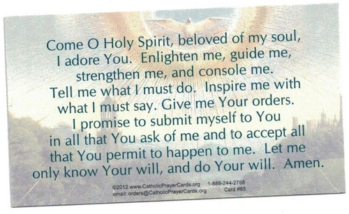 Prayer To The Holy Spirit Card