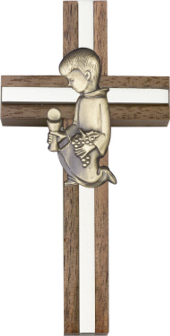 Bliss Walnut Cross with Communion Boy or Girl
