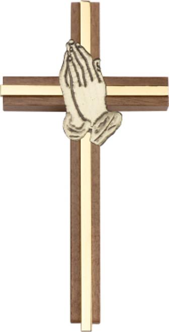 Bliss Walnut Praying Hands Cross