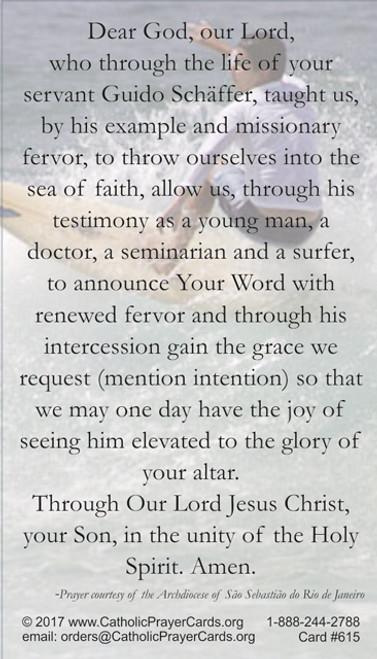 Back of Prayer Card