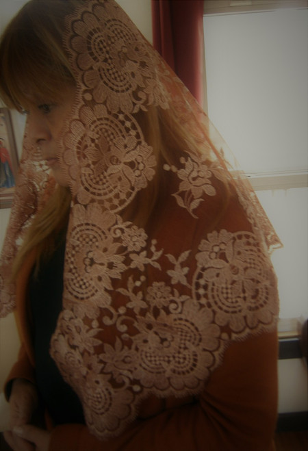 Chocolate Spanish Lace Chapel Veil Mantilla