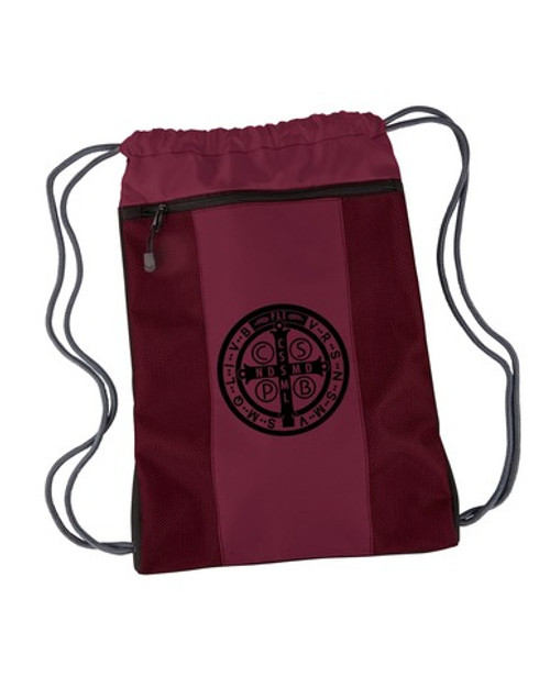 Benedictine Medal Drawstring Cinch Backpack