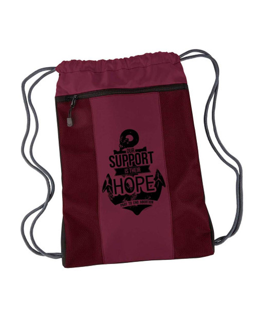 """Our Support is Their Hope"" Drawstring Cinch Backpack"