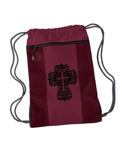 Benedictine Cross Drawstring Cinch Backpack