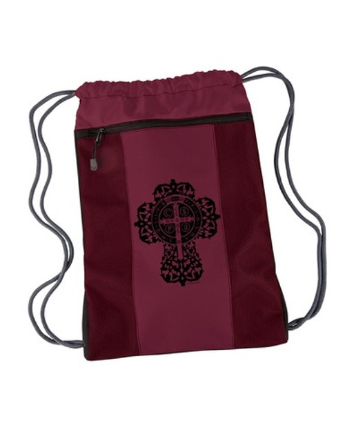 Benedictine Cross Drawstring Cinch Backpack