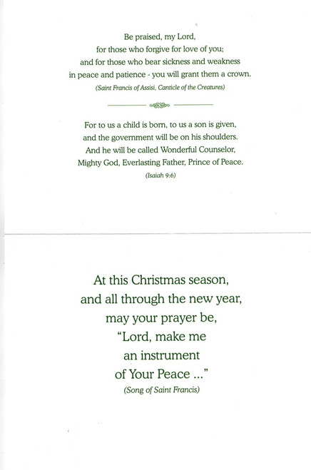 Peace Christmas Card featuring words of St. Francis and Scripture from Isaiah