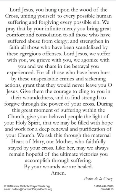 Prayer for those suffering from abuse and scandal in Catholic Church
