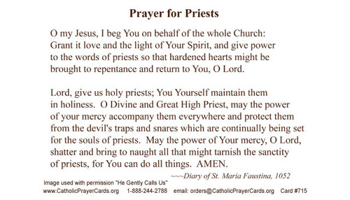 Saint Faustina Kowalska's prayer for holy and pure priests.