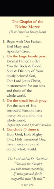 Back of Divine Mercy Chaplet Bookmark