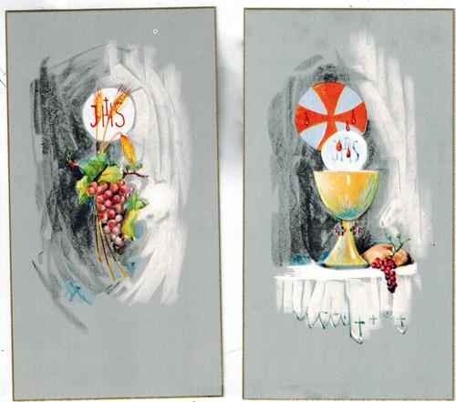Sacramental Symbols- Grey Background Holy Cards