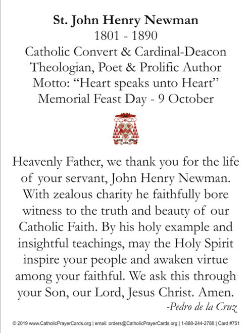 Saint John Henry Cardinal Newman Commemorative Prayer Card for his Canonization