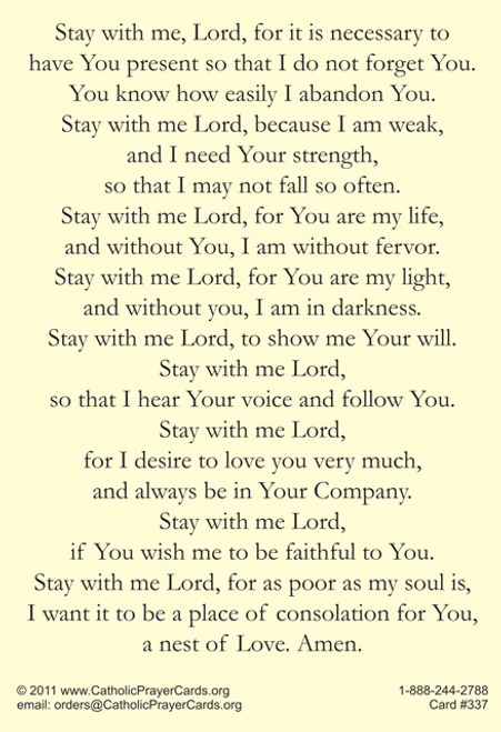 Stay with Me, Lord, prayer after Communion by Saint Padre Pio