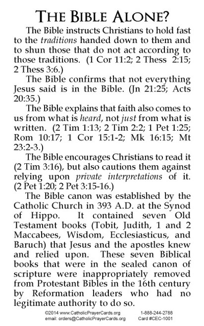 The Bible Alone? Evangelization Card