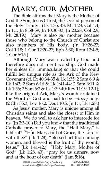 Mary, Mother of God, Evangelization Card