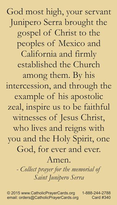Saint Junipero Serra prayer card back