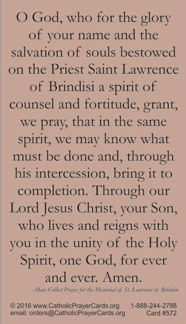 Saint Lawrence of Brindisi prayer card with quote from saint