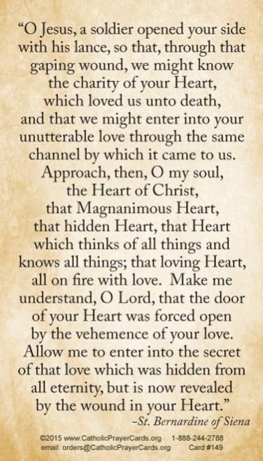 Saint Bernardine of Siena prayer to the Heart of Christ prayer card