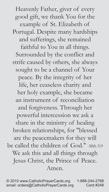Saint Elizabeth of Portugal prayer card for making peace between enemies