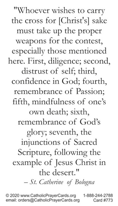 Saint Catherine of Bologna Prayer Card with her quote on living a holy life