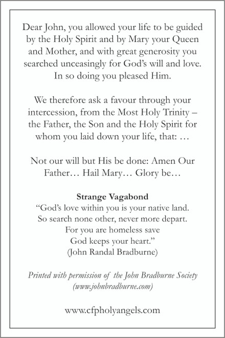 John Bradburne Prayer Card back