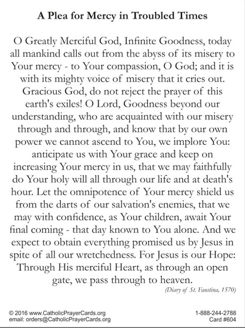 Plea for Mercy in Time of Crisis Prayer Card