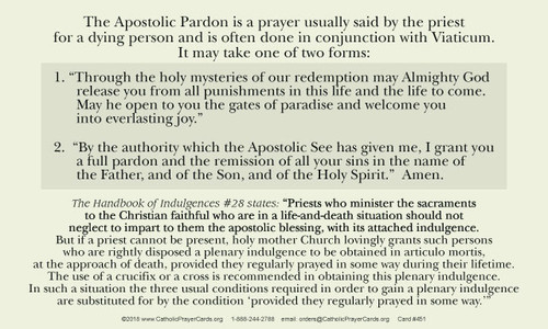 Apostolic Pardon at the Point of Death information and prayer card
