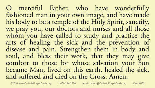Prayer for All Who Care for the Sick Prayer Card